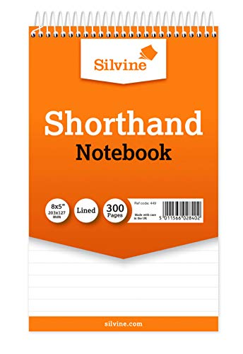 Silvine–Blocco a spirale del Reporter Shorthand NOTEBOOK con 300pagine (Confezione da 5)