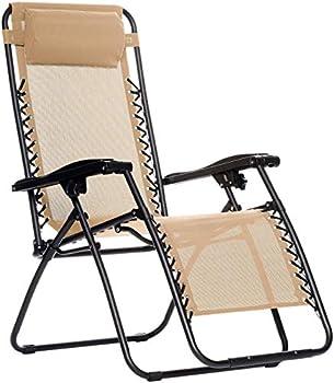 Amazon Basics Outdoor Textilene Adjustable Zero Gravity Folding Reclining Lounge Chair with Pillow Beige