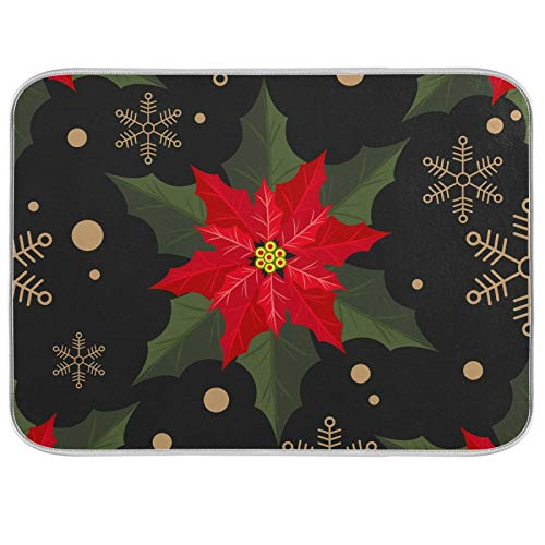HappyCAT Merry Christmas Holly Poinsettia Dish Drying Mat for Kitchen Counter Flowers Snowflake Large Kitchen Dishes Drainer Mat Absorbent Drying Rack Pad 18x24in 5022393