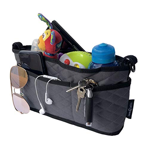 Universal Stroller Organizer Bag by Love Lolli Deep Cup Holders and Multiple Storage Pockets, Velcro Straps, Perfect Stroller Accessory