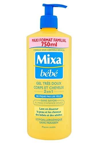 Mixa Bébé Tras Duschgel Gentle Body & Hair 2 in 1 bis Lâ € ™ Dâ € ™ Öl Mandelfamilien Format 750ml (2er Pack)