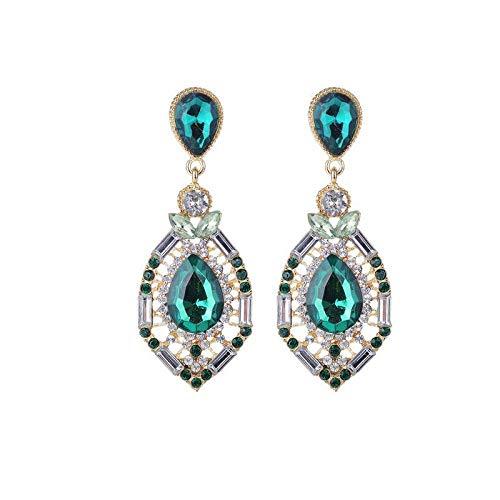 Joyas de moda pendientes de piedras preciosas de gota exagerada pendientes de explosión de joyería pendientes-verde