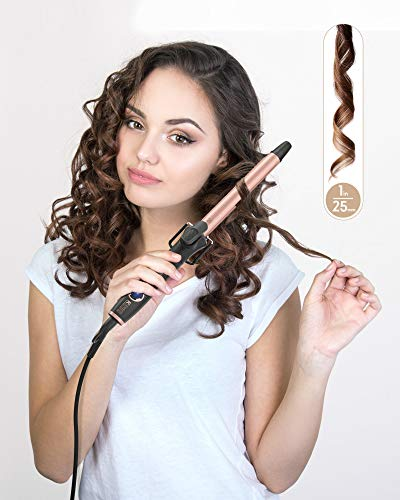 KIPOZI 1 Inch Curling Iron Hair Curler with Ceramic Coating Barrel,Professional Curling Wand Instant Heat up to 450°F,Dual Voltage,Include Heat Resistant Glove(Rose Pink)