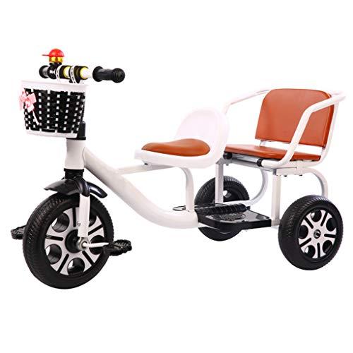 ASDF Tándem para Niños Triciclo con Almacenamiento Compartimiento, Doble Asiento Pedal Bicicleta Poder Llevar Personas,A