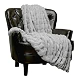 Chanasya Ruched Royal Faux Fur Throw Blanket - Fuzzy Plush Elegant Blanket for Sofa Chair Couch and Bed with Reversible Velvet Blanket (50x65 Inches) Gray