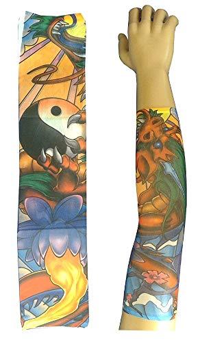 KIRALOVE Manicotto Tattoo - Manica - Tatuaggio Finto - Immagine - tao - Drago - Fiori - Yin - Yang - Dragone - Sole - Tatoo - Mezza Manica - Tribale - Idea Regalo Originale - w07
