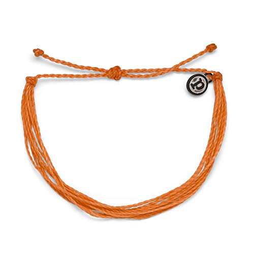 Pura Vida Original Orange Bracelet - 100% Waterproof, Adjustable Band - Plated Brand Charm