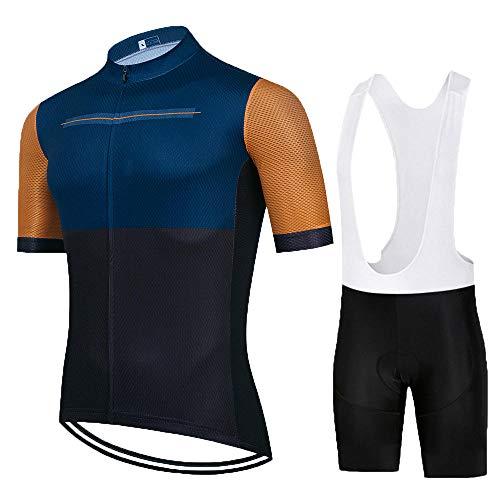 HXTSWGS Ropa Culote Conjunto Traje Culotte Deportivo,El Mejor Equipo de Ciclismo para Hombre, Camiseta de Manga Corta, Maillot de Ciclismo, Verano, Cubierta para Bicicleta de carretera-A01_L