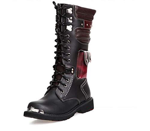 Botas Altas para Hombre Estilo Punk, Botas de Montar Gruesas Extra Grandes Martin, Color Negro, Talla 42 EU