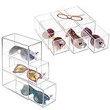 mDesign Juego de 2 cajas para gafas de sol – Cajoneras de plástico con 3 cajones – Organizador de armarios para gafas, gafas de sol y gafas de lectura – transparente