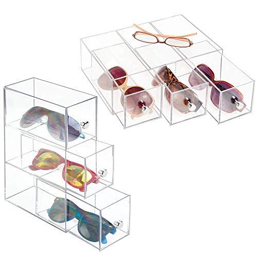 mDesign 2er-Set Aufbewahrungsbox für Brillen – Brillenablage aus Kunststoff in 3 Fächern – Brillenaufbewahrung für Brillen, Sonnenbrillen und Lesebrillen – durchsichtig