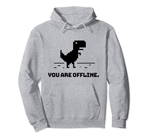 You Are Offline T-Rex [Dino Run] Pixel Art Dinosaur Game Pullover Hoodie