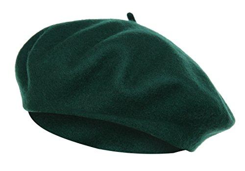 Vglooko, basco, cappello in stile francese, classico, tinta unita, in lana Dark Green Taglia unica