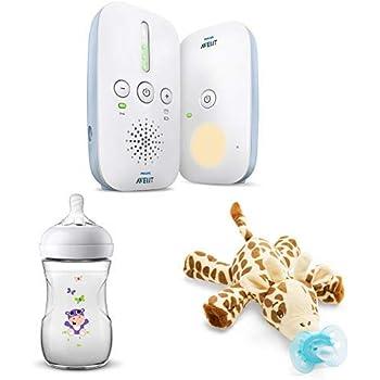Philips Avent Audio-Babyphone SCD503/26 Geschenk - Set mit Natural Flasche Hippo - Design und Schnullertier Giraffe