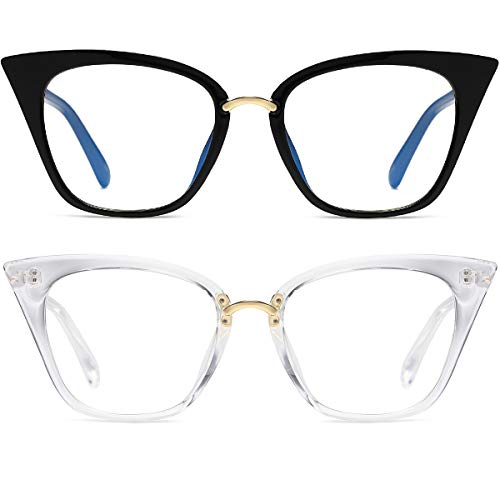 MORESHINE Paquete de 2 gafas de ordenador con bloqueo de luz azul para mujer, lentes transparentes anti UV (negro + cristal)