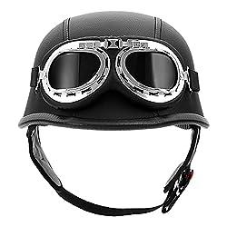 XFMT DOT German Style Motorcycle Half Helmet Open Face Crusier Leather Cap Helmet with Pilot Goggles XL