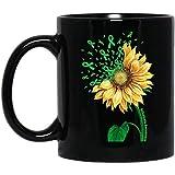 N\A Taza de café de Conciencia de acalasia con Cinta Verde de Girasol, Regalo Negro de 11 onzas para Amigo, Amante, Esposo, Esposa