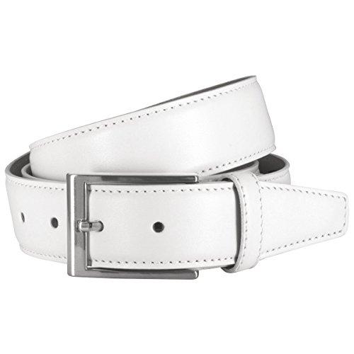 Lindenmann Mens leather belt/Mens belt, leather belt XL curved, white, Größe/Size:125, Farbe/Color:bianco