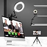 Lusweimi Ring Light for Computer Laptop Video Conference Lighting Kit with Clip&Overhead Tripod, 6' Webcam Light with Magic Arm&Phone Holder for iPhone/Zoom Meeting/Desktop/Video Recording/YouTube