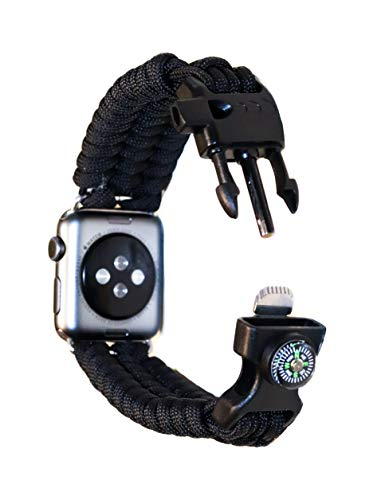 Renegade Outdoors Paracord-Uhrenarmband, kompatibel mit Apple Watch, 38-40 mm, schwarzes Paracord-Armband mit Kompass, Feuerstarter, Pfeife und wetterfester Schnalle, 16,5 cm
