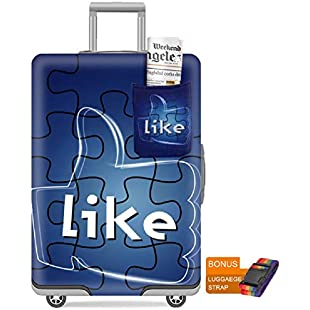 Washable Spandex Travel Suitcase Luggage Bag Cover Protector Fits 26/27/28 Suitcase Sleeve Thumbs Up with Luggage Strap Belt Size L