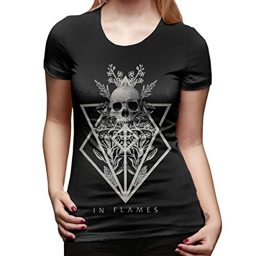 in Flames Band Shirt Women Basic Round Neck Tops Cotton T Shirts S Black