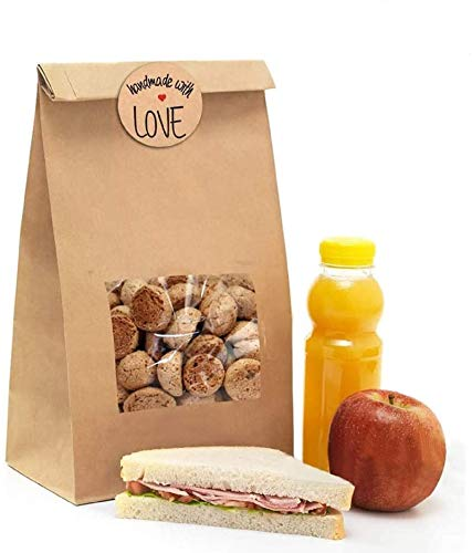 NPLUX Bakery Bags with Window Kraft Paper Bags 50Pcs 5.9x2.8x9 Inches Cookie Bags Coffee Bags Treat Bags(Brown)