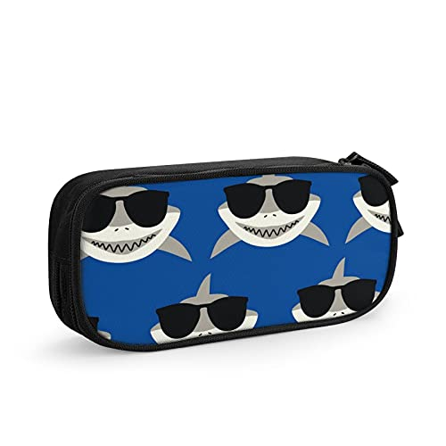 Shark con gafas de sol bolsa de bolígrafo, bolsa de papelería duradera, bolsa plegable para la escuela, oficina, bolígrafo de gran capacidad