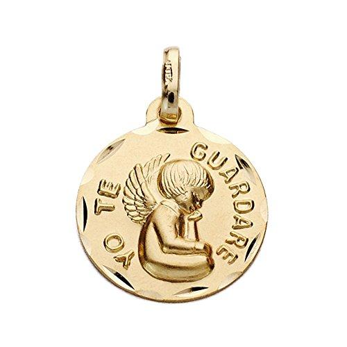 Médaille pendentif 9K Pendentif en or 16 mm. - Je garderai - Lisa Ange Round Détails de bord Découpages - personnalisable - enregistrement inclus dans le prix