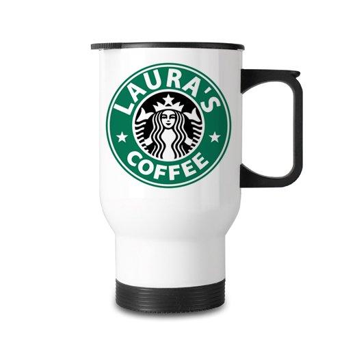 Isolierbecher mit von Starbucks inspiriertem Design, personalisierbar, edelstahl, White Travel Mug