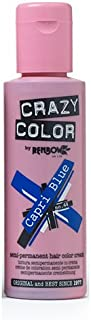 Crazy Color Semi Permanent Hair Color Cream Capri Blue No.44, 3.38 Fl Oz, 4 Count