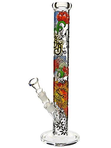 Bong mit Reinigungs-Set: Jelly Joker Glasbong mit japanischem Design - 45cm, 18,8mm - Head&Nature Bong-Kollektion