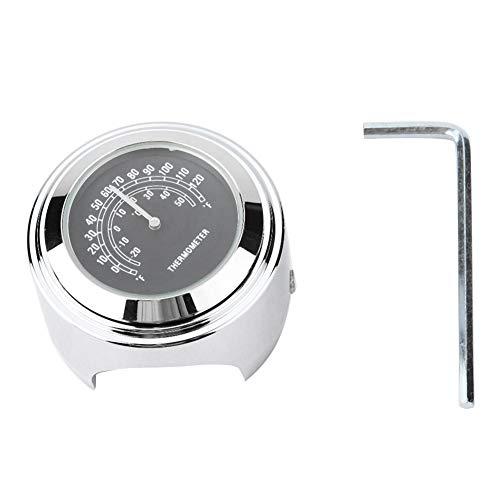 Termometro per manubrio per moto, accessori per termometro per montaggio su manubrio per moto impermeabile in alluminio da 22-25 mm(Nero)
