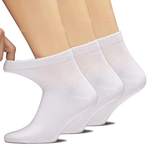 Hugh Ugoli Women's Bamboo Ankle Loose Fit Socks, Soft, Seamless Toe, Wide Stretchy, Non-Binding Top, 3 Pairs, White, Shoe Size: 6-9