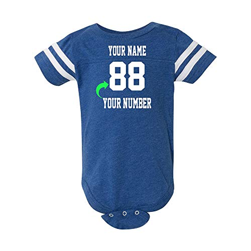 Just Customized Cute Infant Football Fine Personalized Jersey Baby Bodysuit with Contrasting Sleeve Stripes (Vintage Royal, 24M)