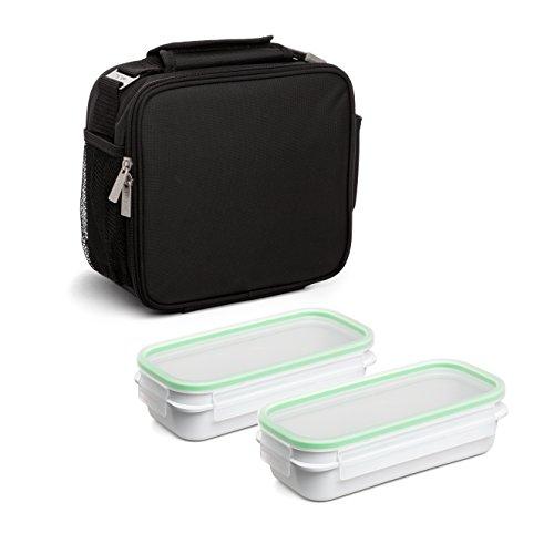 TATAY Urban Food Prime Negro - Bolsa térmica Porta Alimentos con 2 tápers incluidos, 4,7 litros de capacidad, Tela, Negro, 11 x 25.5 x 24.5 cm