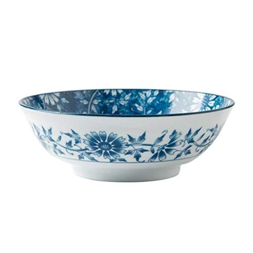 CP0206 Cuenco de cerámica de cuenco, cuenco estilo chino azul y blanco flores de glaseado de glaseado de glaseado de hortalizas para el hogar tazón de sopa grande tazón de fideos instantáneos Cerámica