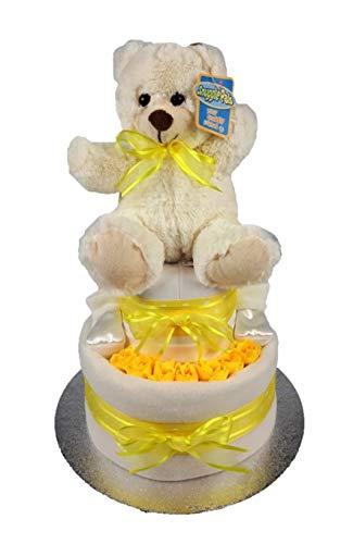 Juego de cestas de regalo para baby shower, unisex, diseño de pastel de pañales (amarillo de peluche)