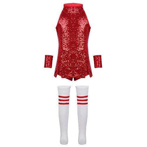iiniim Mädchen Cheerleaderin Kostüm Glänzend Kinder Kleidung Set Für Hip-Hop Jazz Cosplay Karneval Fasching Tanzkostüm Rot 110-116/5-6Jahre