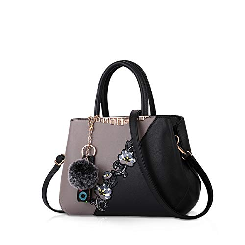 NICOLE & DORIS Handtaschen Damen modische Damenhandtaschen taschen Damen Umhängetaschen mit Blumenmuster Spleiß Farbe Grau