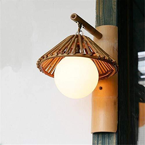Lámpara de pared Retro Aplique, Moderna Luz de pared interior Sencillez al aire libre Sencillez Estilo japonés E27 Socket Sombrero de paja Wall Sconence Shade y tejido hecho a mano Lámpara de pared de