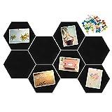 Xinzistar 8 x tablones de corcho con chinchetas, hexagonal, pizarra de corcho autoadhesiva, paneles de pared, para colgar fotos, casa, oficina (negro)