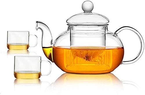 Tetera Tetera Taza tetera de cristal a prueba de calor con la tapa del filtro de la tetera tetera de flor engrosamiento caldera de té Negro completo juego de té de 650 ml Hervidor de agua