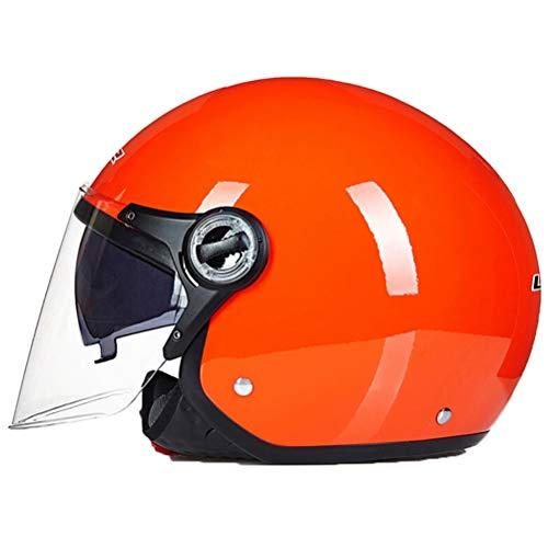 Hombres Mujeres Universal Jet Casco de Motocicleta Dual Visores Abierto Cara Respirable Scooter Eléctrico Bicicleta Gorras de Seguridad Ligero Anti Otoño Clásico Casco de Moto