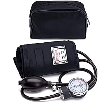 Santamedical Adult Deluxe Aneroid Sphygmomanometer - Professional Blood Pressure Monitor with Adult Black Cuff and Carrying case  Light Black