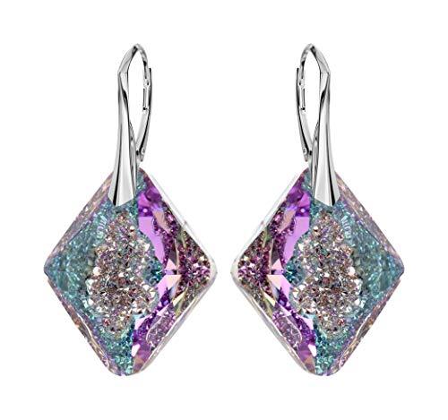 *Beforya Paris* NIEUWE - TRIANGLE - Leuke exclusieve oorbellen - Kleur Vitrail Light - Zilver 925 Mooie dames oorbellen met kristallen van Swarovski Elements - Prachtige oorbellen