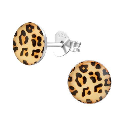 Laimons Pendientes para mujer Disco con diseño de piel de leopardo Marrón...