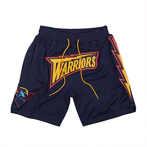 PQMW Pantalones cortos de baloncesto Warriors FanEdition Retro de Fitness Mesh transpirables con bolsillos y cordón (S-XXL) negro S