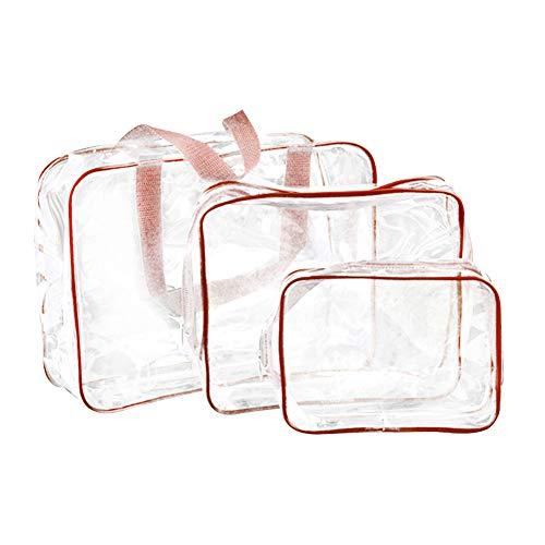 Qinlee 3pcs/Set PVC Sacs Cosmetiques, Transparent Transparent Sac Maquillage, Multifonction Trousse de Maquillage(Cafe)