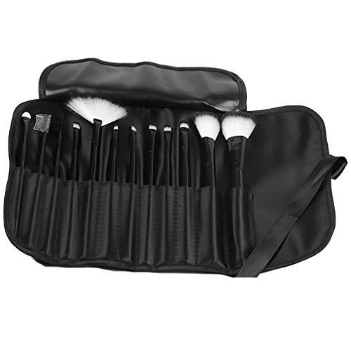 Lurrose 12 Pcs Pinceau de Maquillage Ensemble Premium Poignée Synthétique Mélange Visage Poudre Fard à Joues Anti-Cernes Ombres à Paupières Cosmétiques Outil avec Sac de Rangement (Noir)